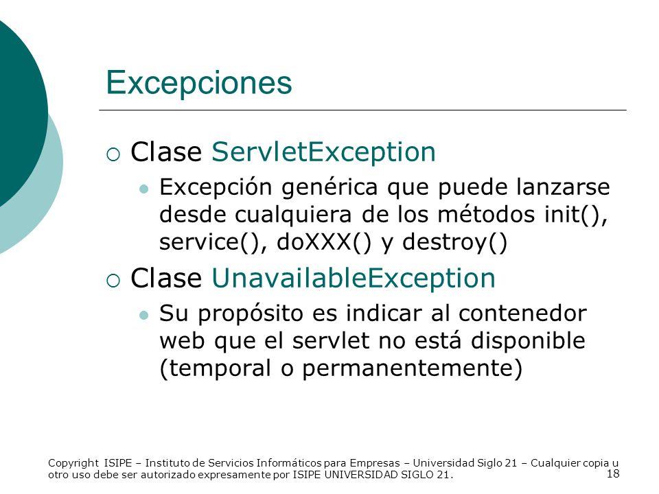 Excepciones Clase ServletException Clase UnavailableException