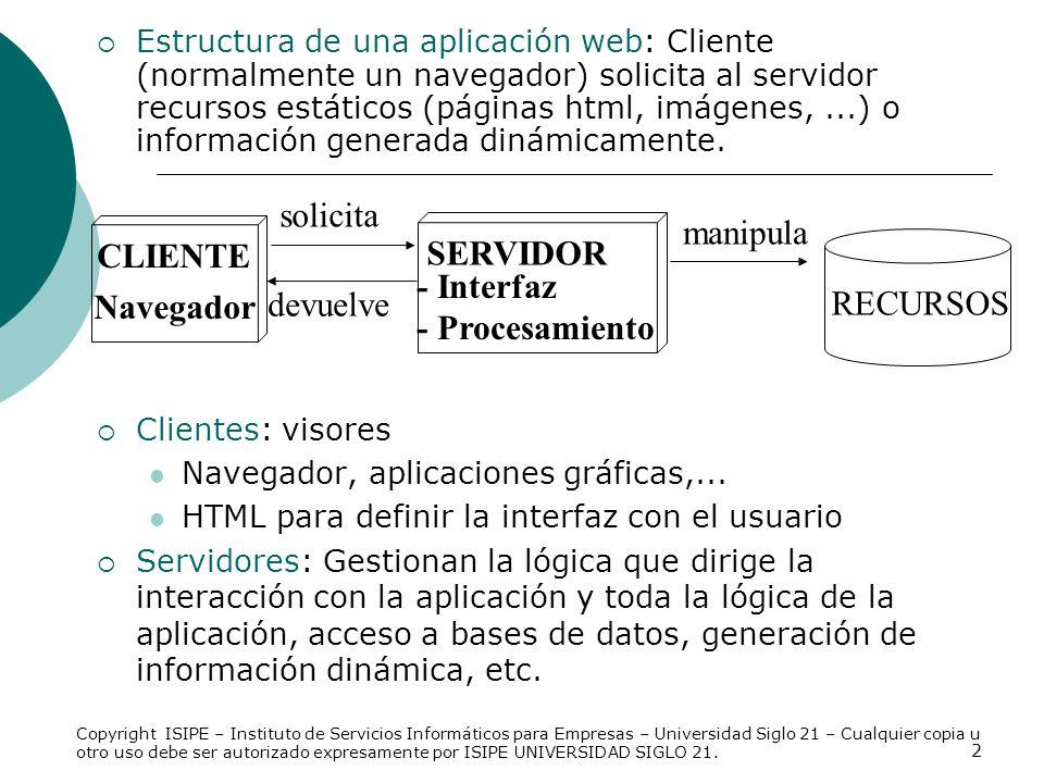 Navegador CLIENTE RECURSOS solicita devuelve - Interfaz