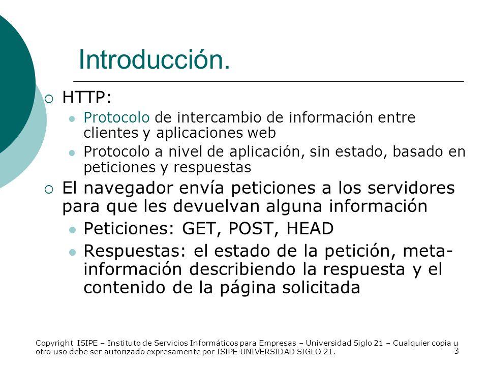 Introducción. HTTP: Protocolo de intercambio de información entre clientes y aplicaciones web.