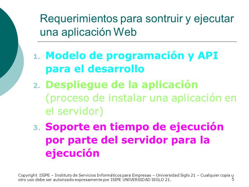 Requerimientos para sontruir y ejecutar una aplicación Web