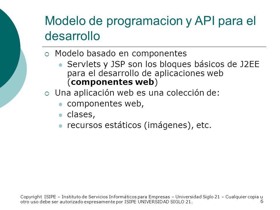 Modelo de programacion y API para el desarrollo