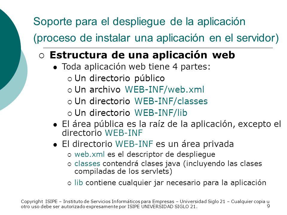 Soporte para el despliegue de la aplicación (proceso de instalar una aplicación en el servidor)