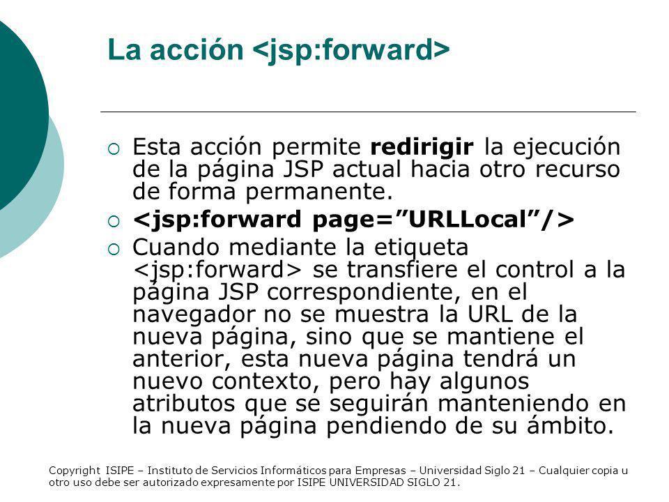 La acción <jsp:forward>