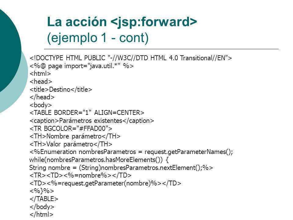 La acción <jsp:forward> (ejemplo 1 - cont)