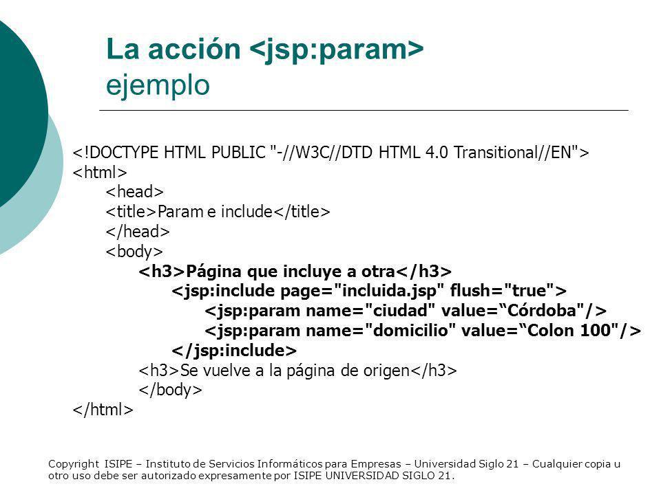 La acción <jsp:param> ejemplo