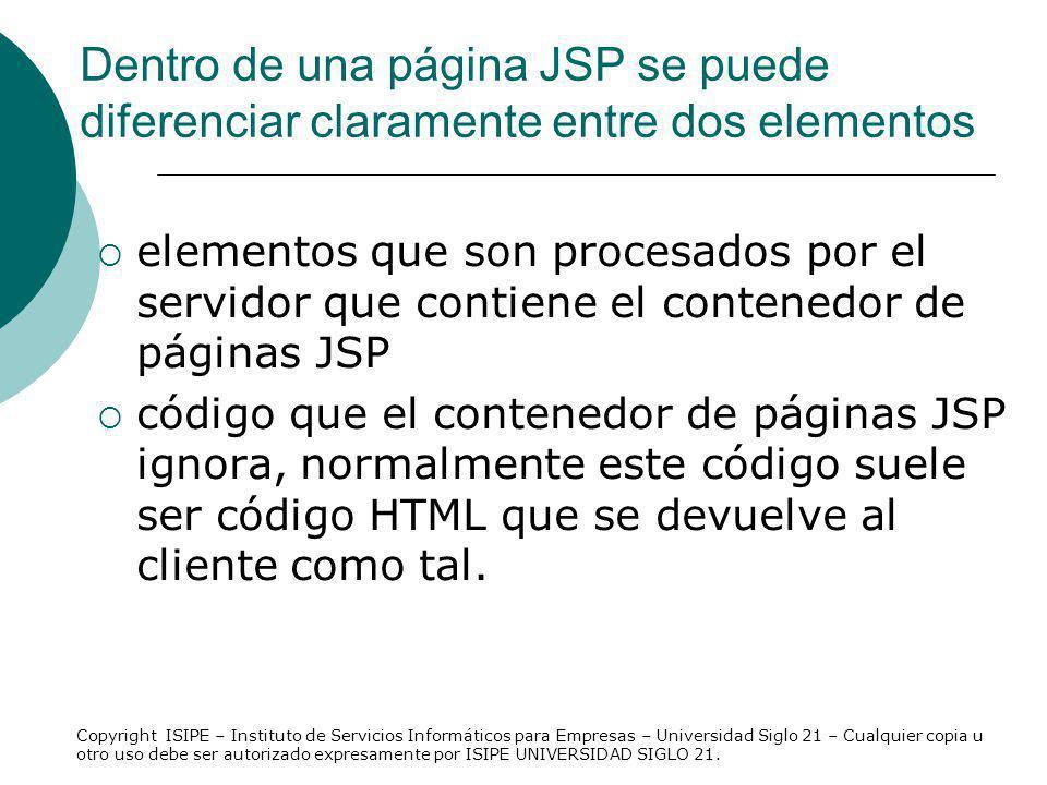 Dentro de una página JSP se puede diferenciar claramente entre dos elementos