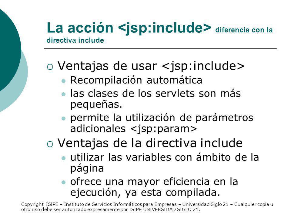 La acción <jsp:include> diferencia con la directiva include