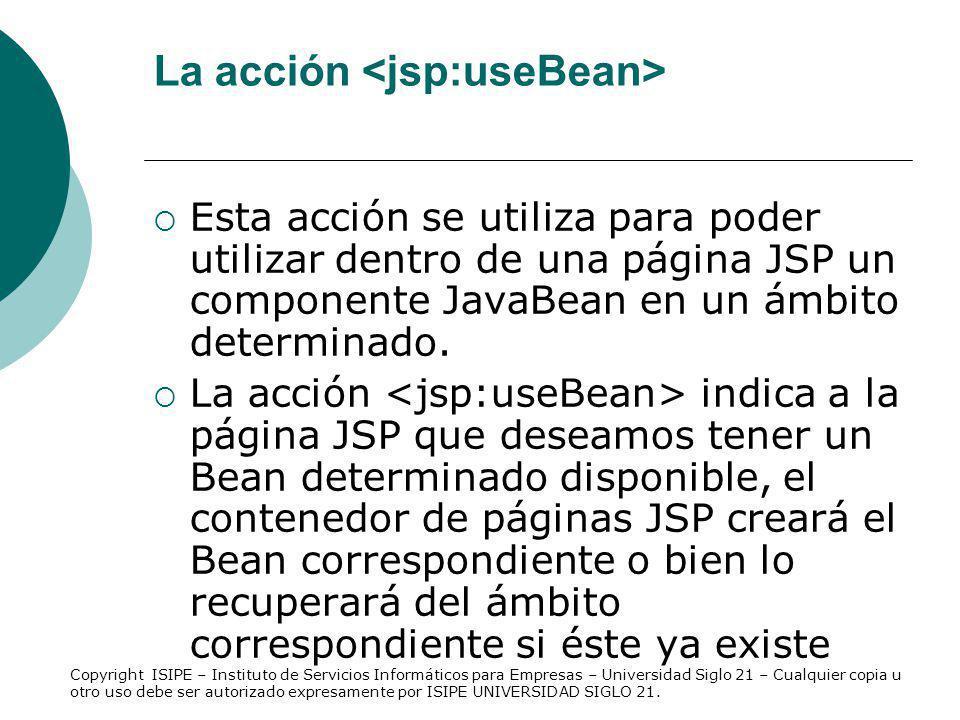 La acción <jsp:useBean>