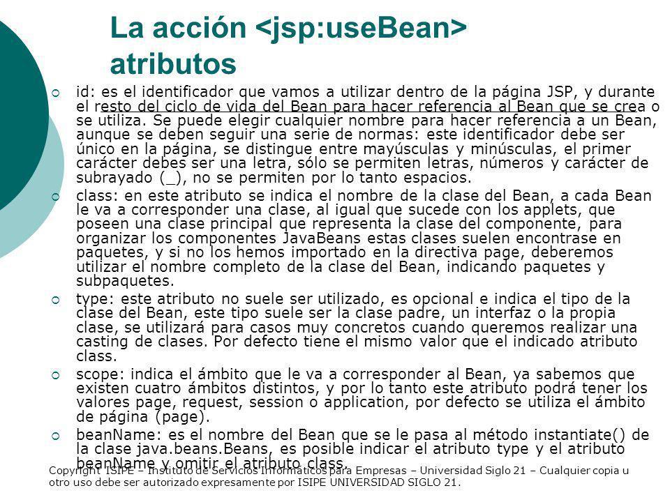 La acción <jsp:useBean> atributos