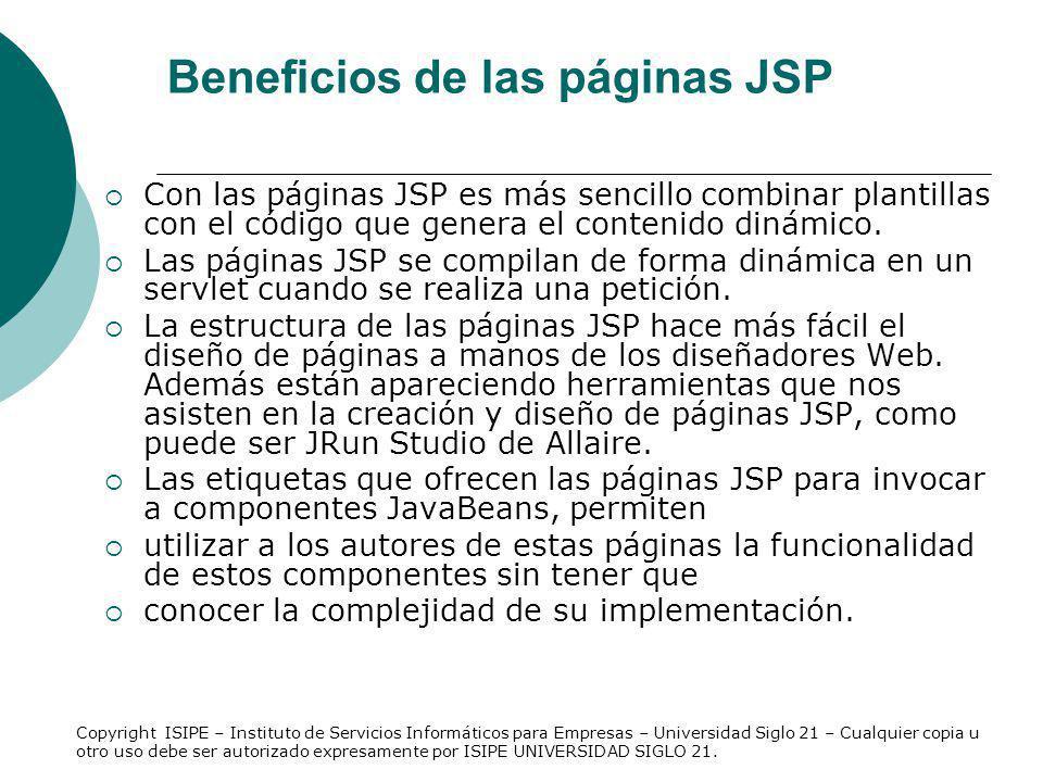 Beneficios de las páginas JSP