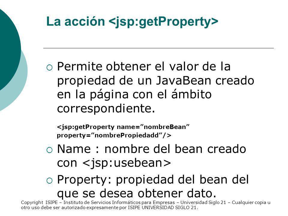 La acción <jsp:getProperty>