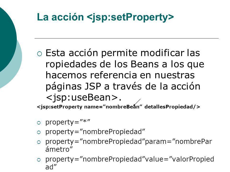 La acción <jsp:setProperty>