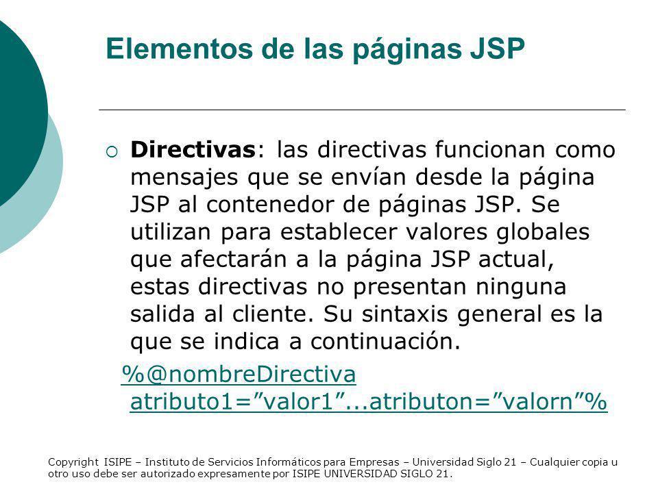 Elementos de las páginas JSP