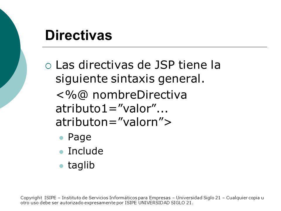 Directivas Las directivas de JSP tiene la siguiente sintaxis general.