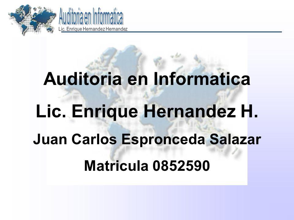 Auditoria en Informatica Lic. Enrique Hernandez H.