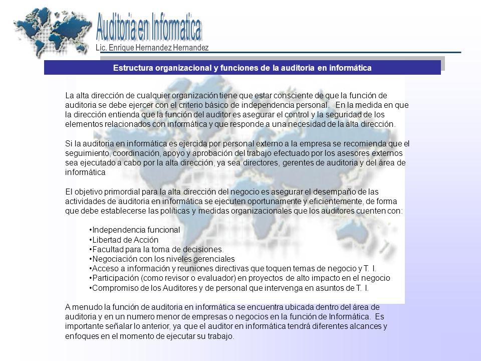 Estructura organizacional y funciones de la auditoria en informática