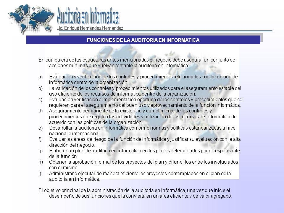 FUNCIONES DE LA AUDITORIA EN INFORMATICA