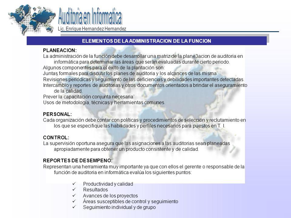 ELEMENTOS DE LA ADMINISTRACION DE LA FUNCION