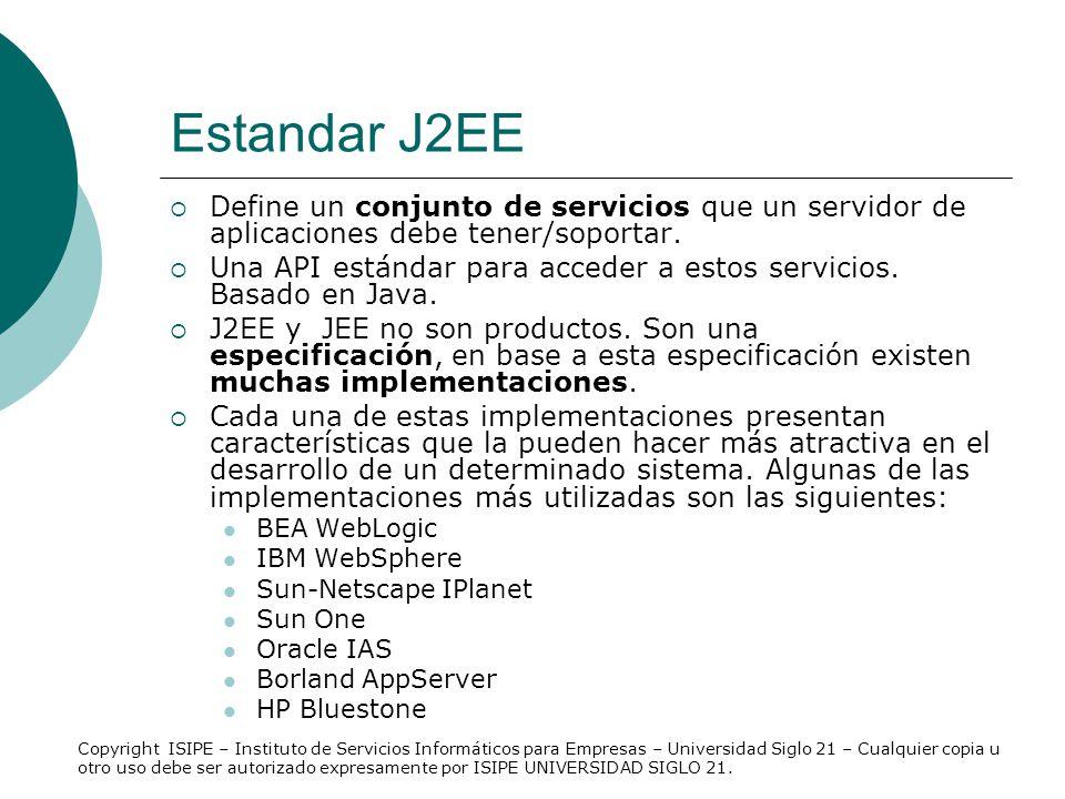 Estandar J2EE Define un conjunto de servicios que un servidor de aplicaciones debe tener/soportar.