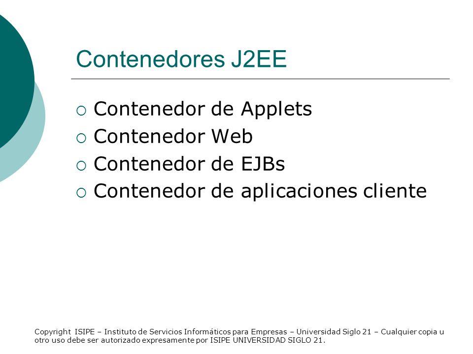 Contenedores J2EE Contenedor de Applets Contenedor Web