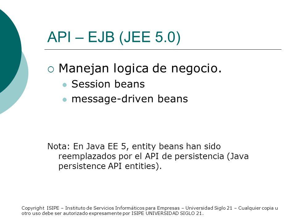 API – EJB (JEE 5.0) Manejan logica de negocio. Session beans
