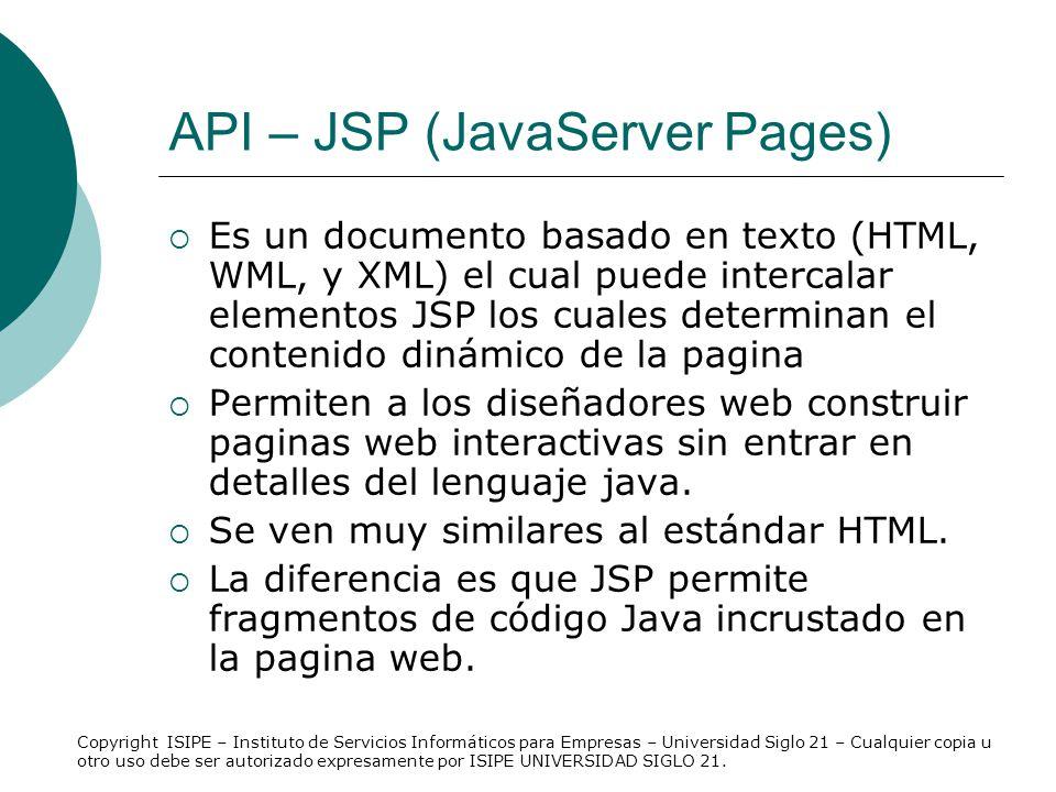 API – JSP (JavaServer Pages)