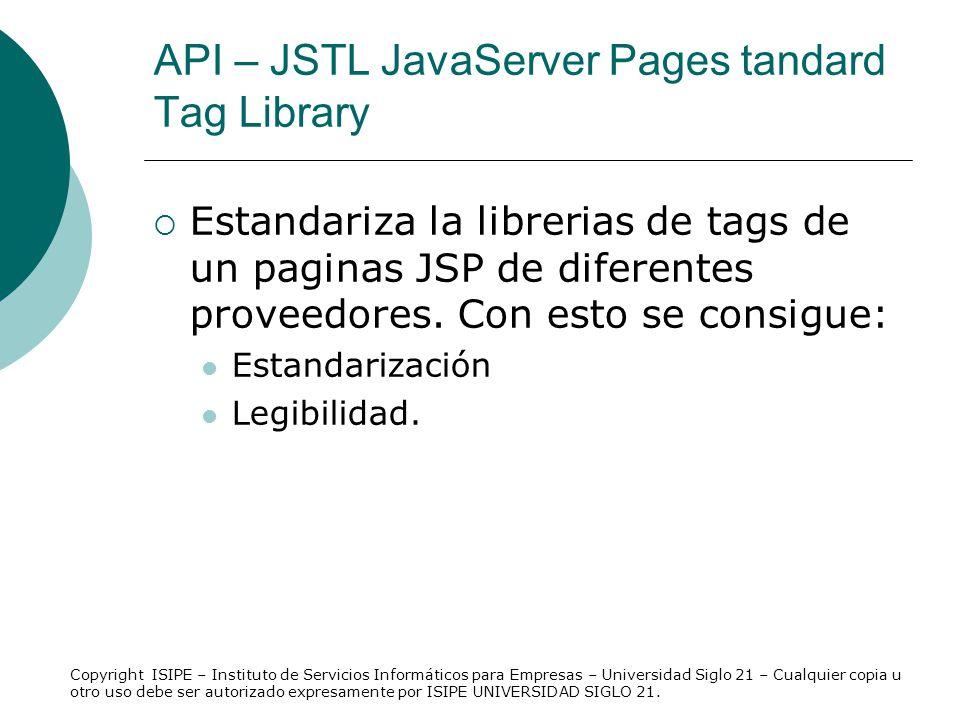 API – JSTL JavaServer Pages tandard Tag Library