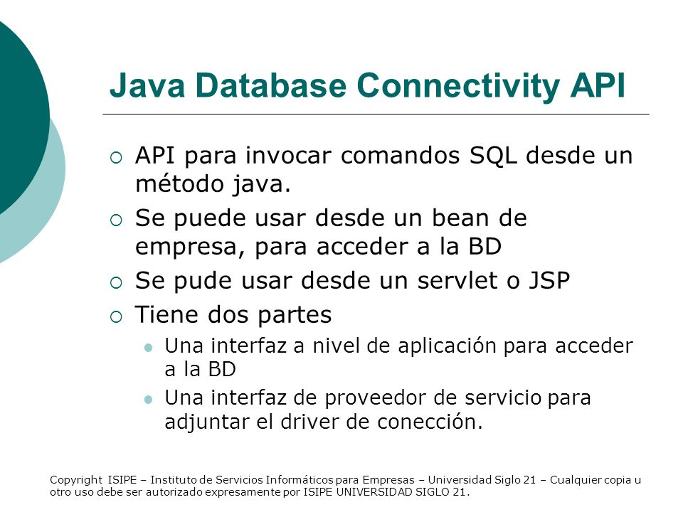 Java Database Connectivity API
