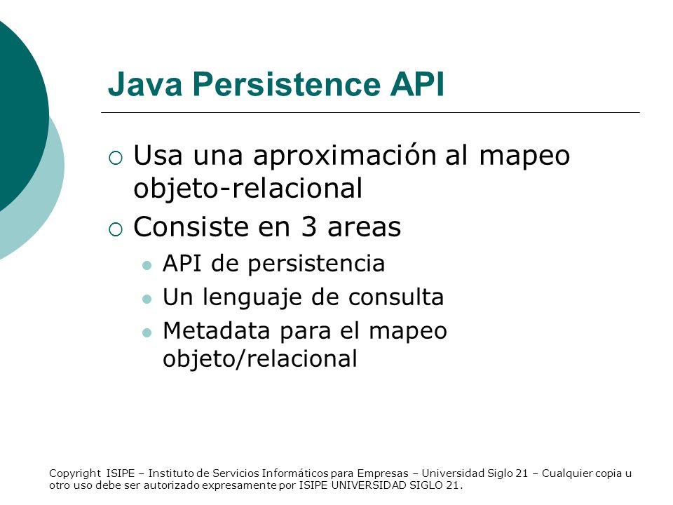 Java Persistence API Usa una aproximación al mapeo objeto-relacional