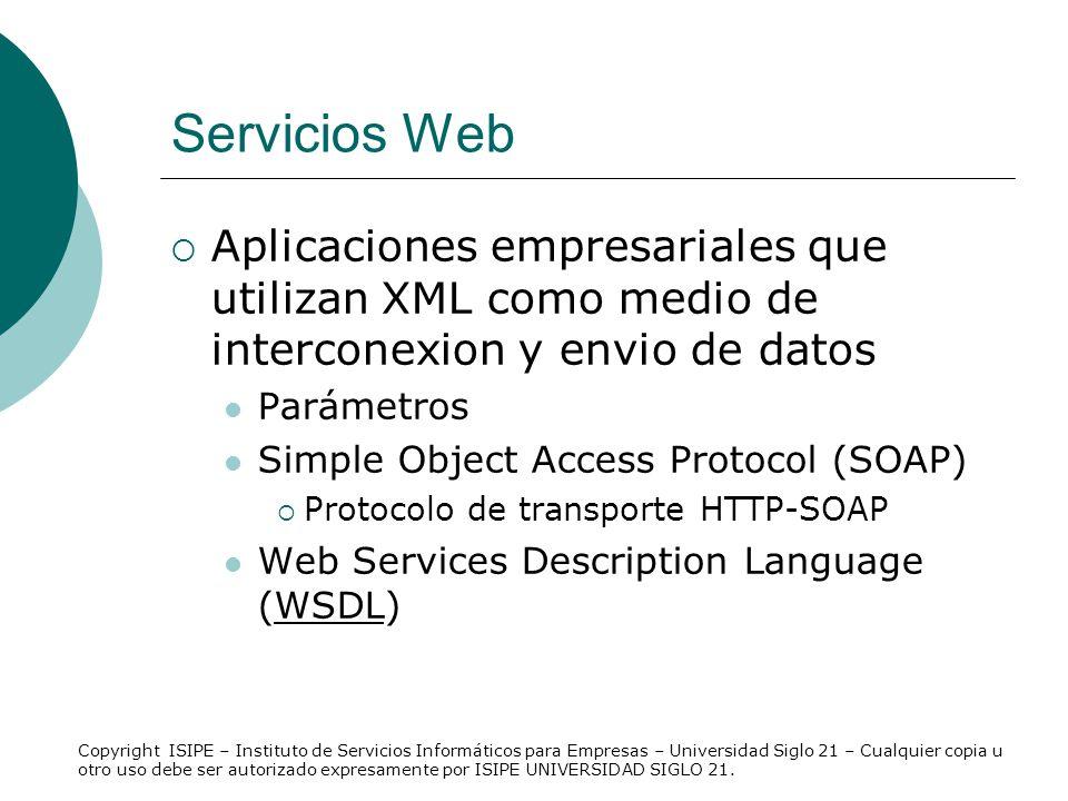 Servicios Web Aplicaciones empresariales que utilizan XML como medio de interconexion y envio de datos.