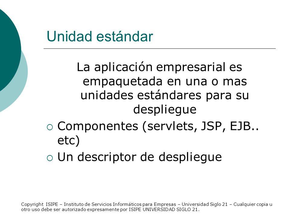 Unidad estándar La aplicación empresarial es empaquetada en una o mas unidades estándares para su despliegue.