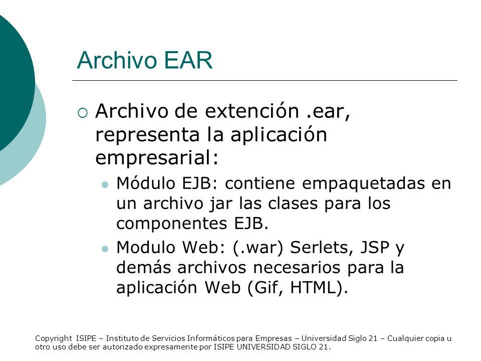 Archivo EAR Archivo de extención .ear, representa la aplicación empresarial: