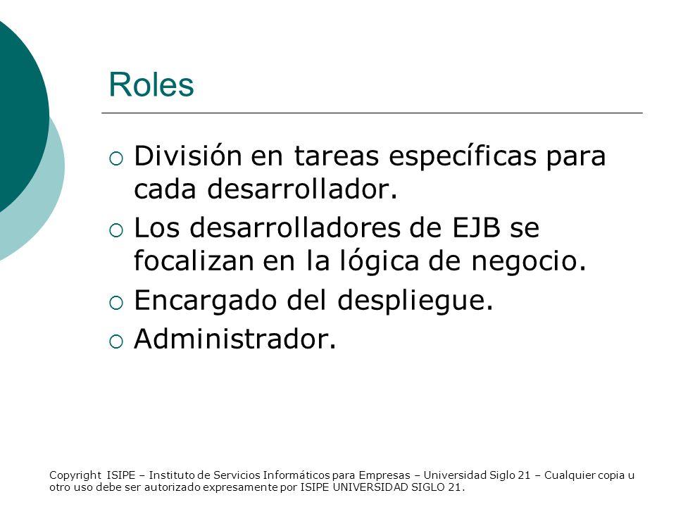 Roles División en tareas específicas para cada desarrollador.