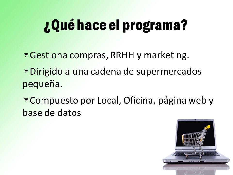 ¿Qué hace el programa Gestiona compras, RRHH y marketing.
