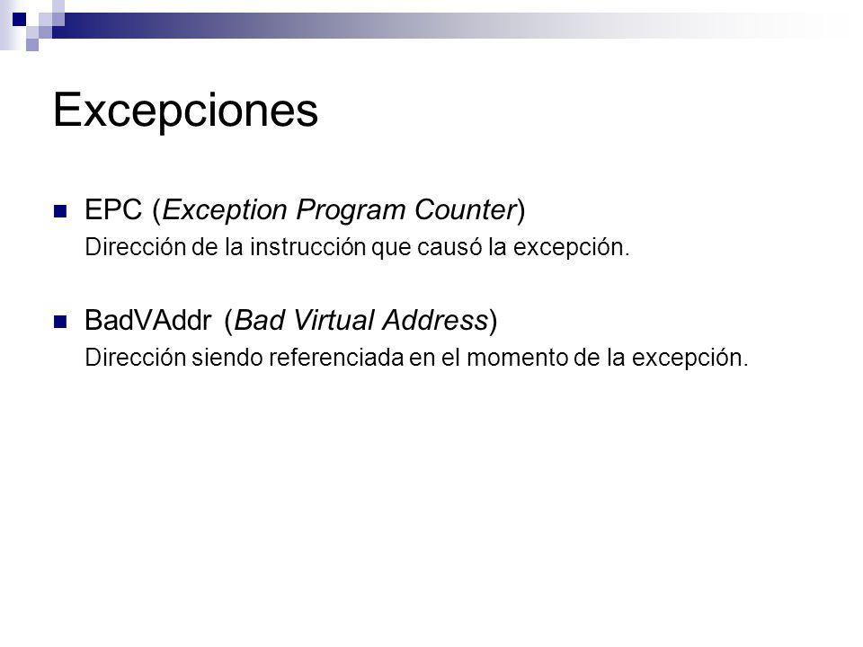Excepciones EPC (Exception Program Counter)