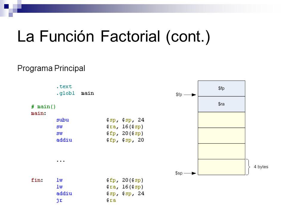 La Función Factorial (cont.)