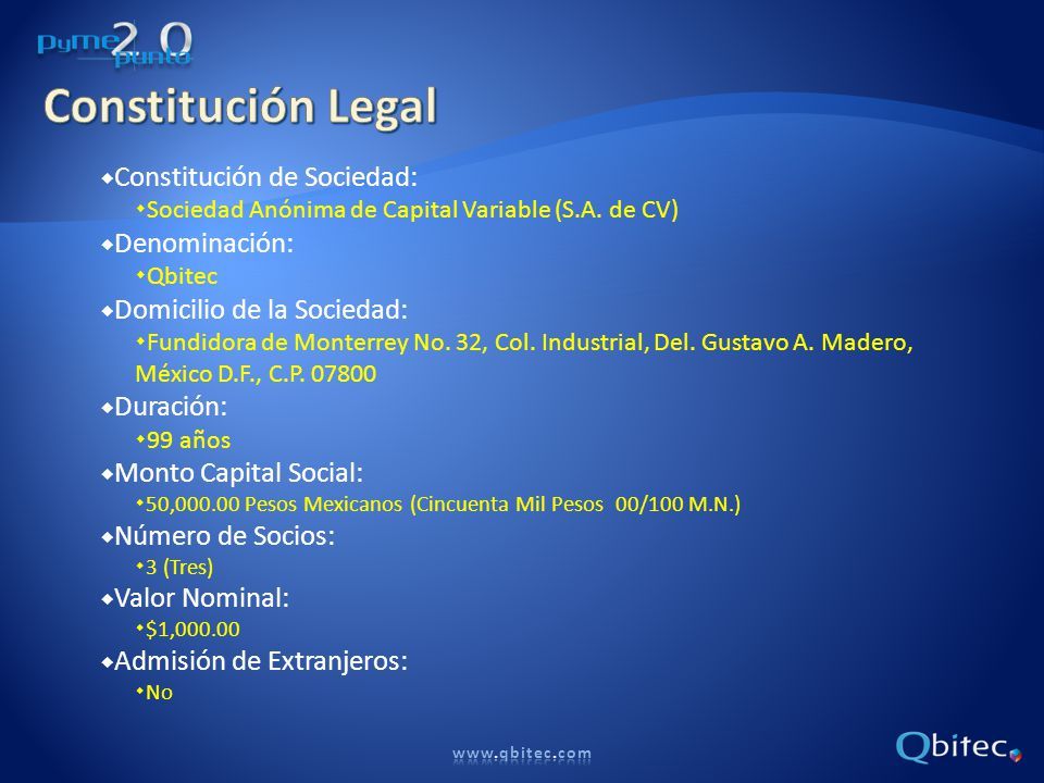 Constitución Legal Constitución de Sociedad: Denominación: