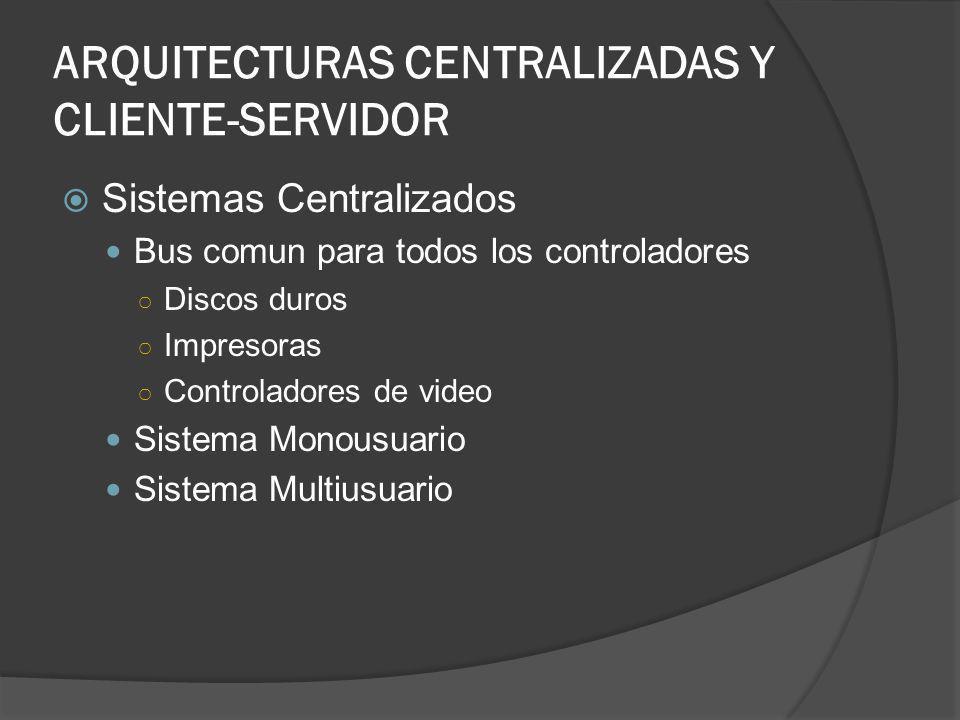 ARQUITECTURAS CENTRALIZADAS Y CLIENTE-SERVIDOR
