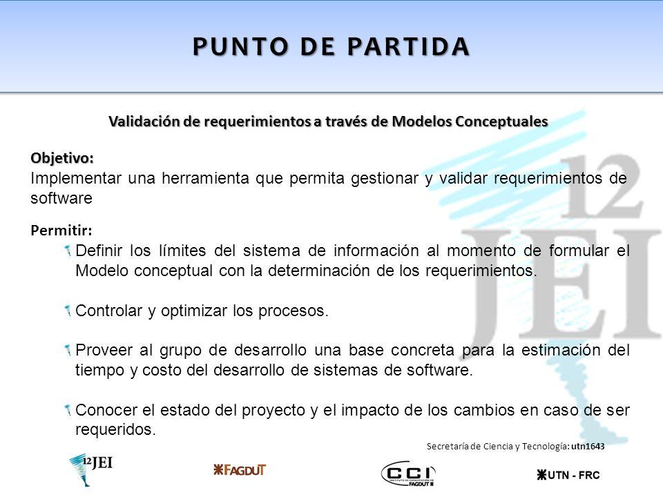Punto de partida Validación de requerimientos a través de Modelos Conceptuales. Objetivo: