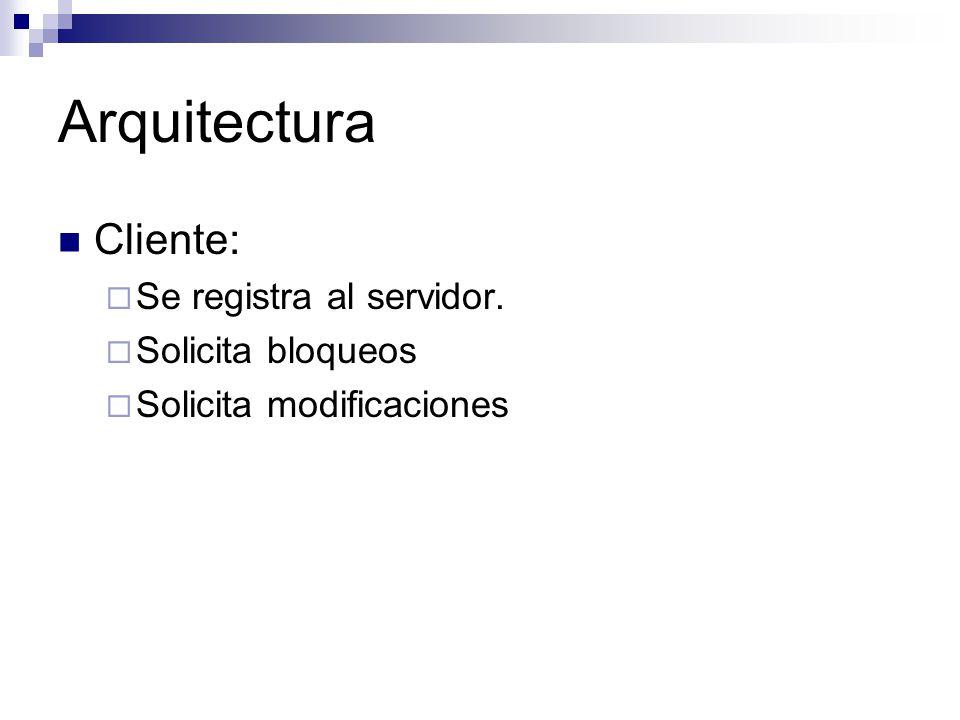 Arquitectura Cliente: Se registra al servidor. Solicita bloqueos