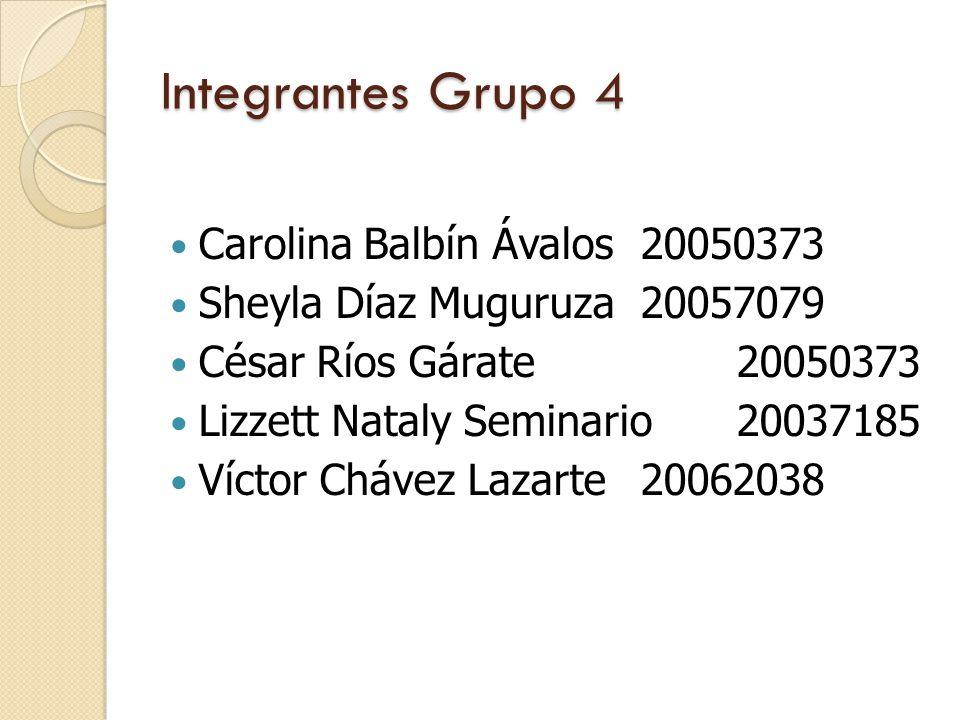 Integrantes Grupo 4 Carolina Balbín Ávalos 20050373