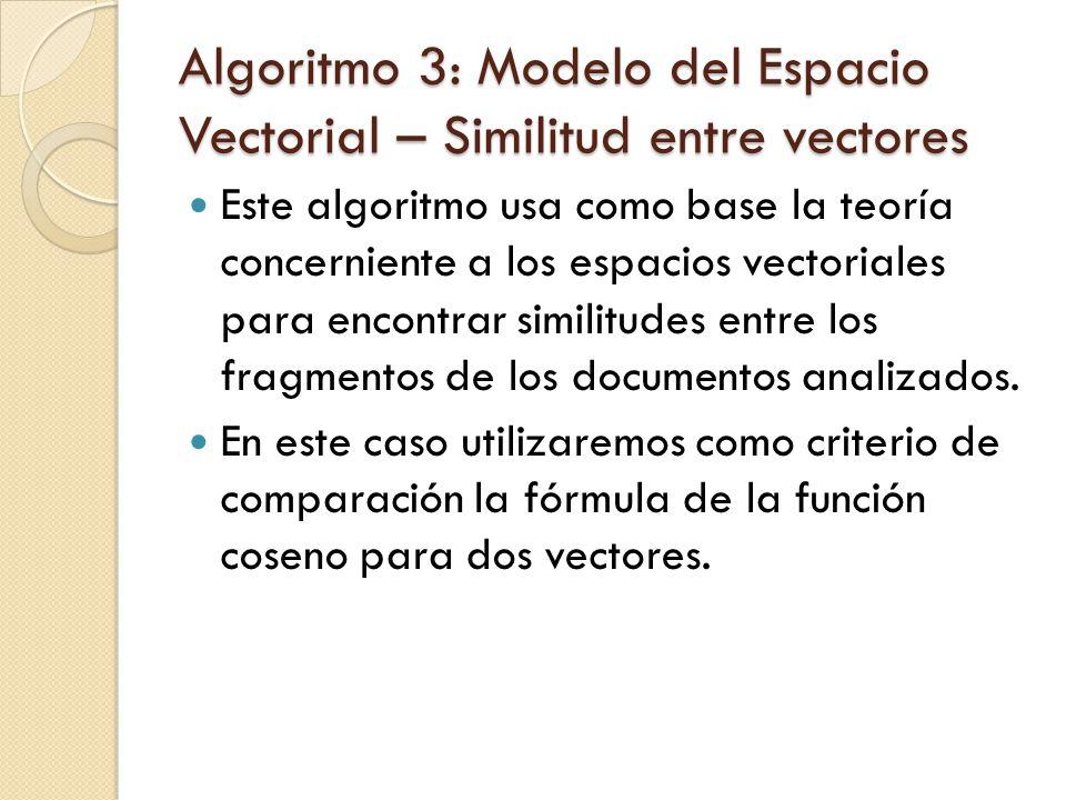 Algoritmo 3: Modelo del Espacio Vectorial – Similitud entre vectores