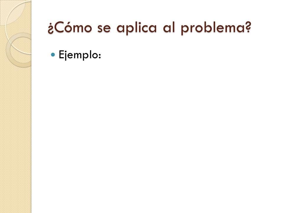¿Cómo se aplica al problema