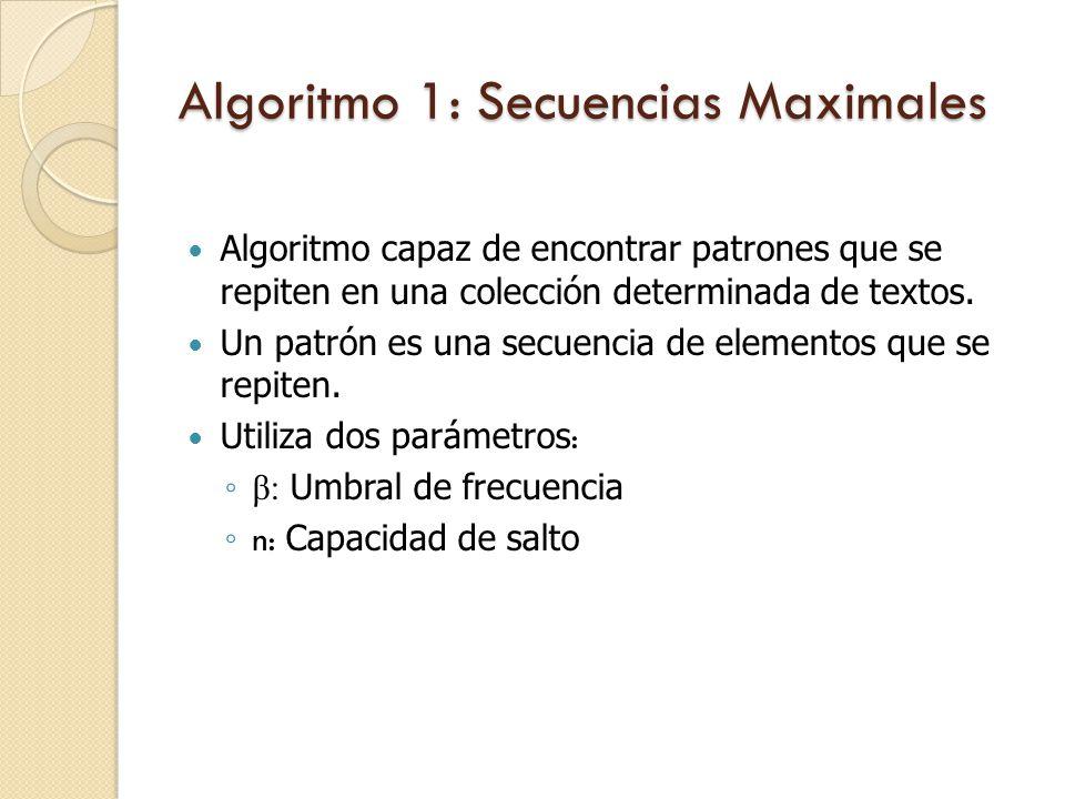 Algoritmo 1: Secuencias Maximales