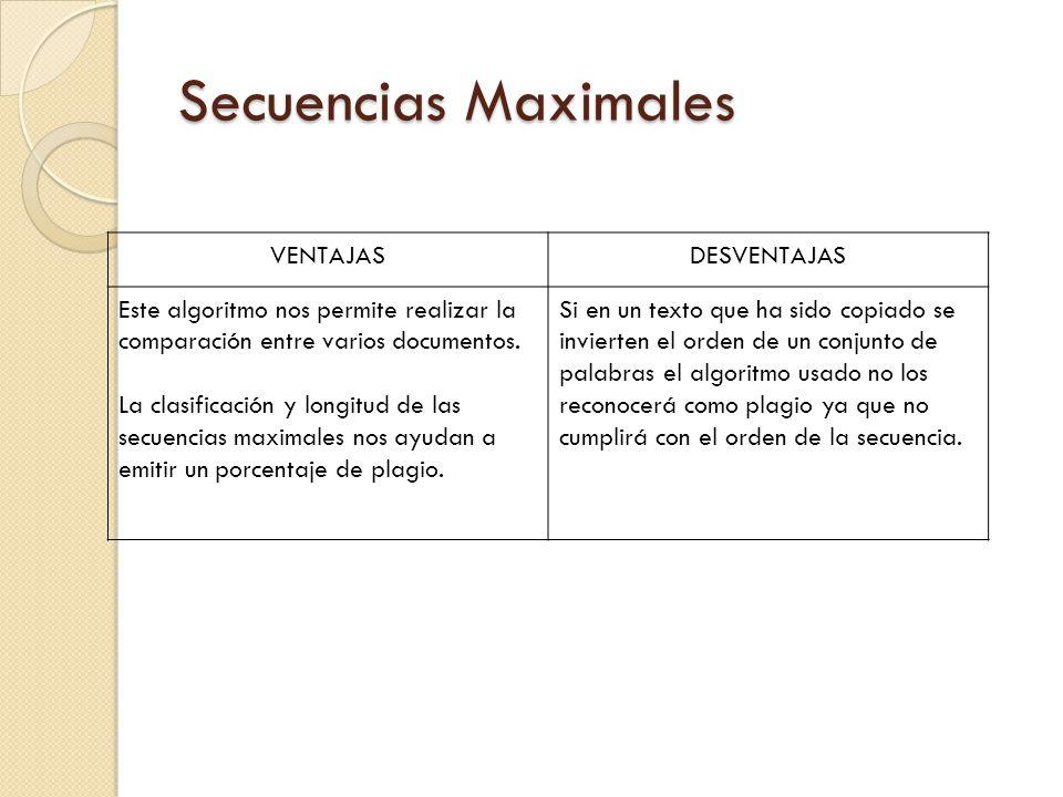 Secuencias Maximales VENTAJAS DESVENTAJAS