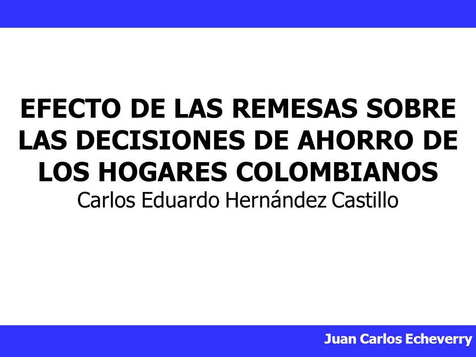 EFECTO DE LAS REMESAS SOBRE LAS DECISIONES DE AHORRO DE LOS HOGARES COLOMBIANOS Carlos Eduardo Hernández Castillo
