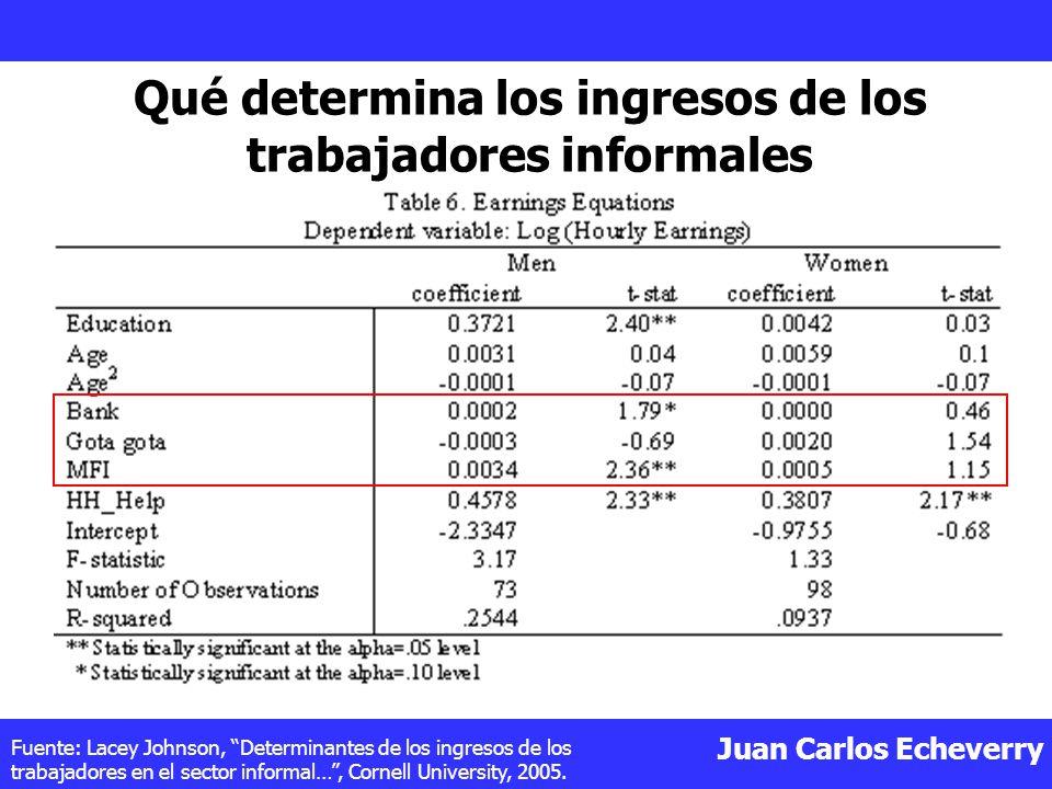 Qué determina los ingresos de los trabajadores informales