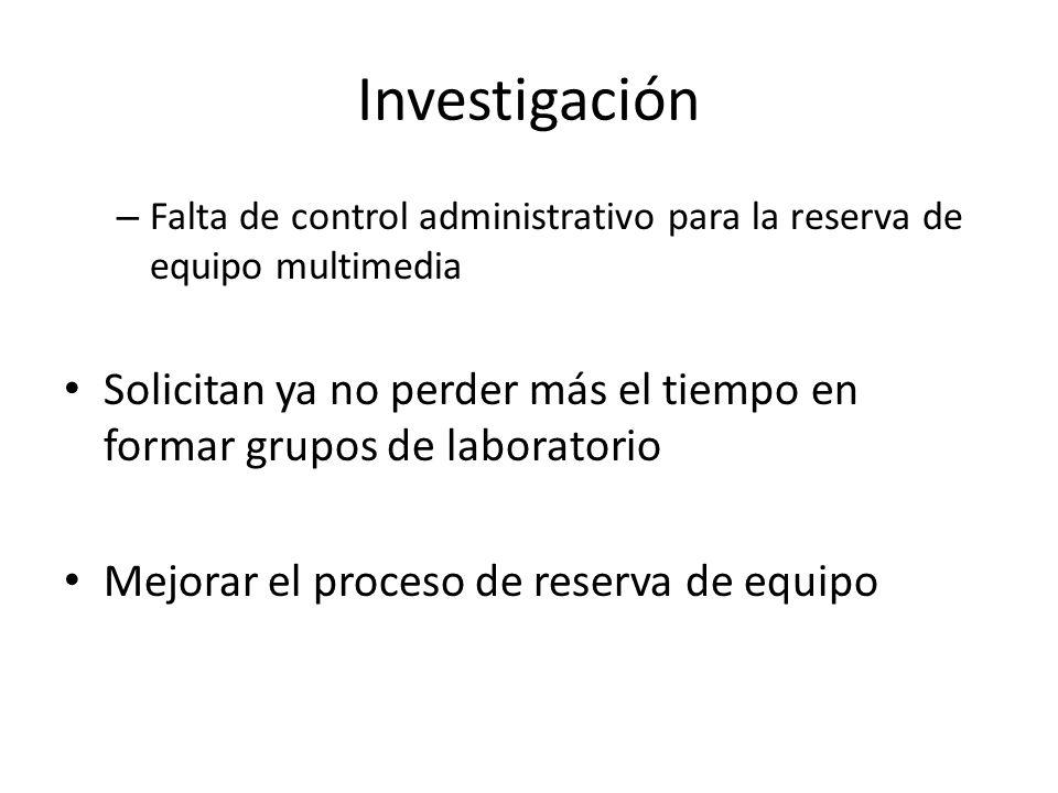 Investigación Falta de control administrativo para la reserva de equipo multimedia.
