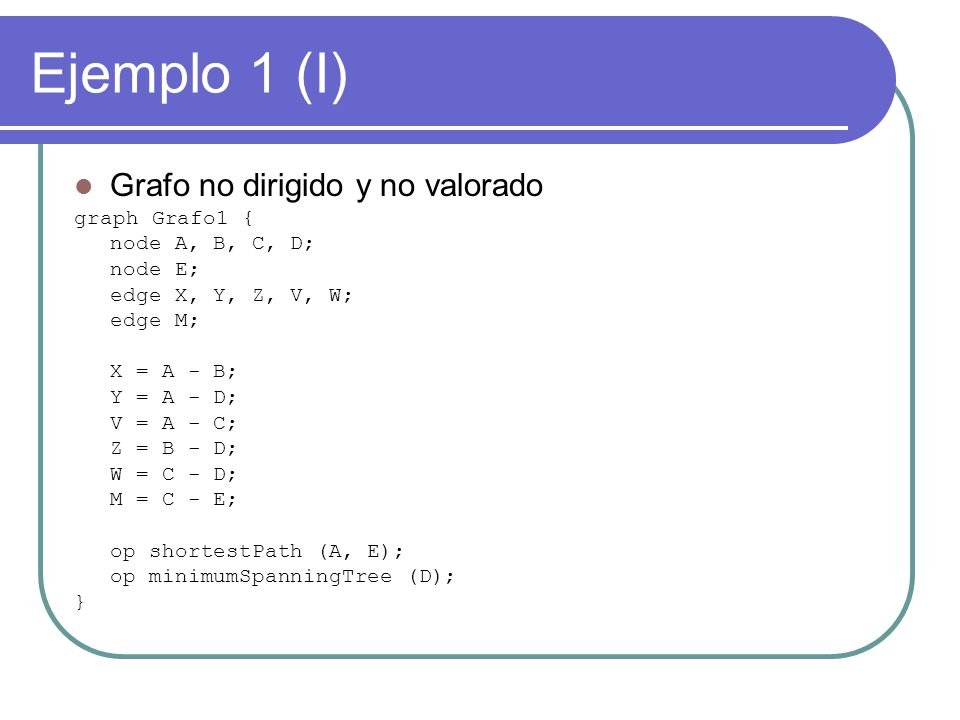 Ejemplo 1 (I) Grafo no dirigido y no valorado graph Grafo1 {