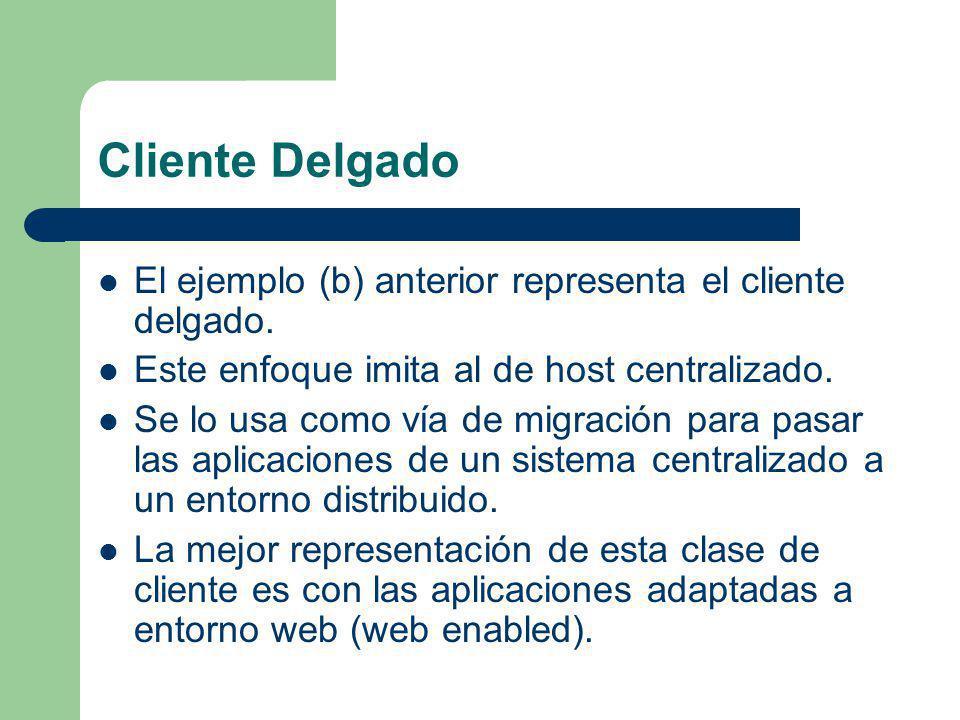 Cliente Delgado El ejemplo (b) anterior representa el cliente delgado.